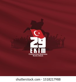 29 ekim Cumhuriyet Bayrami kutlu olsun. Translation: 29 october, republic day of Turkey. Typography vector design