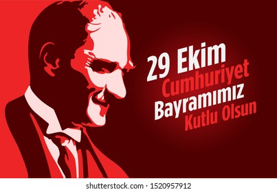 29 ekim Cumhuriyet Bayramimiz kutlu olsun, Republic Day Turkey. Translation: 29 october Republic Day Turkey and the National Day in Turkey happy holiday. vector graphic for design elements