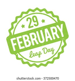 29 February Leap Day rubber stamp green on a white background.