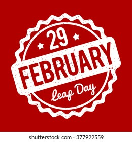 29 February Leap Day rubber stamp white on a red background.