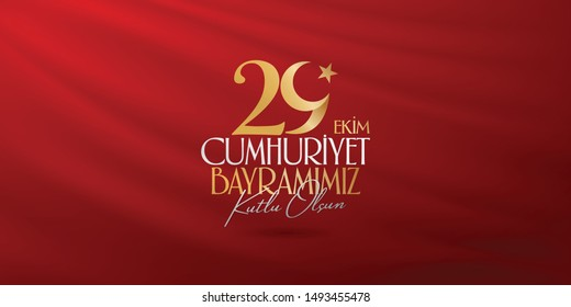 29 October Republic Day Turkey and the National Day in Turkey. (Turkish: 29 Ekim Cumhuriyet Bayramimiz Kutlu Olsun.) Billboard, Poster, Social Media, Greeting Card and Wishes Card badge template.