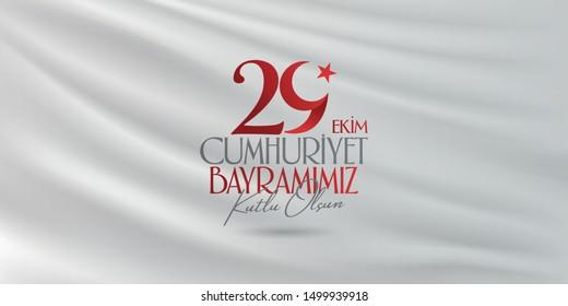 29 October Republic Day Turkey and the National Day in Turkey. (Turkish: 29 Ekim Cumhuriyet Bayramimiz Kutlu Olsun.) Billboard, Poster, Social Media, Greeting Card and Wishes Card badge template.