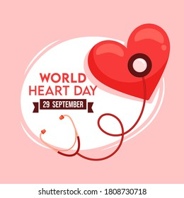 29 September, World Heart Day Text with Heart Checkup from Stethoscope on White and Pink Background.