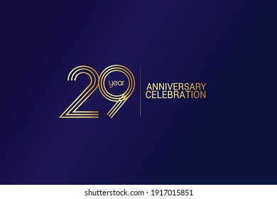 29 year anniversary celebration Gold Line. logotype isolated on Blue background for celebration, invitation card, and greeting card-Vector