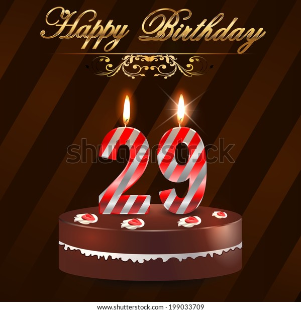 Outstanding 29 Year Happy Birthday Card Cake Stock Vector Royalty Free 199033709 Personalised Birthday Cards Arneslily Jamesorg