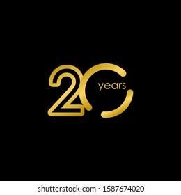 29 Years Anniversary elegant Gold Celebration Vector Template Design Illustration