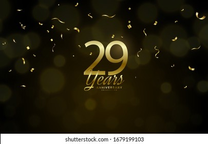 29th anniversary background with illustrations of golden figures of light effects and the writing below.