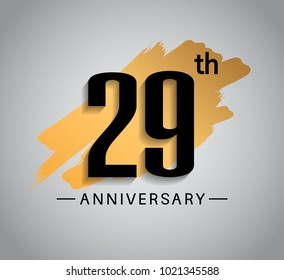 29th anniversary design with golden brush isolated on white background for celebration event