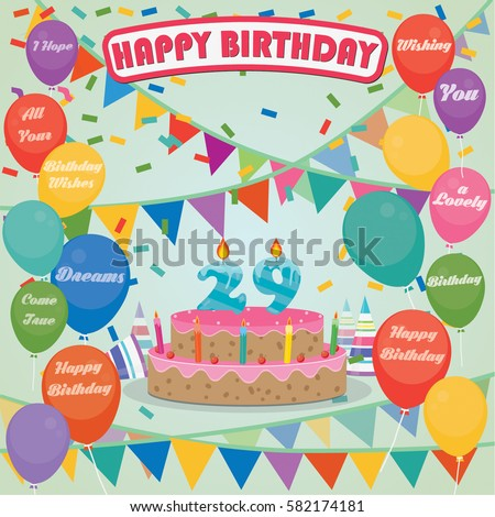 29th Birthday Cake And Decoration Background In Flat Design With Balloons Candles