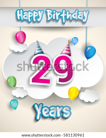 29th birthday Celebration Design, with clouds and balloons. Design greeting card and invitation for