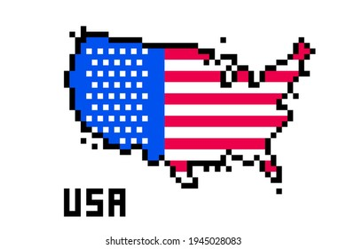 2d 8 bit pixel art USA map covered with flag isolated on white background. Old school vintage retro 80s, 90s platform computer, video game graphics.Slot machine design element.Country geography.