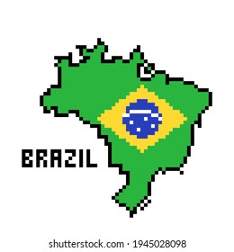 2d 8 bit pixel art Brazil map covered with flag isolated on white background. Old school vintage retro 80s, 90s platform computer, video game graphics.Slot machine design element.Country geography.