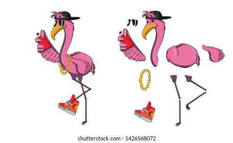 2D Animate character Flamingo rapper is painting spray can, Vector creative illustration cute cartoon is divide part of character for animation graphic design, Abstract funny cartoon Tropical concept.