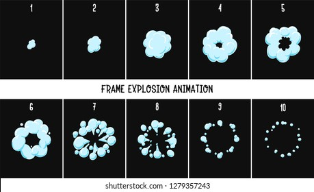 2d classic explode and smoke. Element explosion special effect fx animation frames