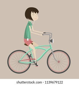 2D flat illustration of the girl on a bicycle with color background. Stylish female hipsters on bicycle, side view, isolate. Vector