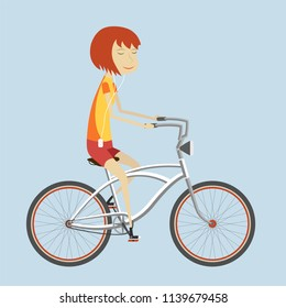 2D flat illustration of girl on a bicycle with color background.Vector illustration for animation, banner, poster, mobile app, icon, sticker. Stylish female hipsters on bicycle, side view, isolate