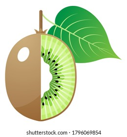 2D Fruit Vector - Fresh Ripe Kiwi Fruit And Cut In Half Isolated On White Background