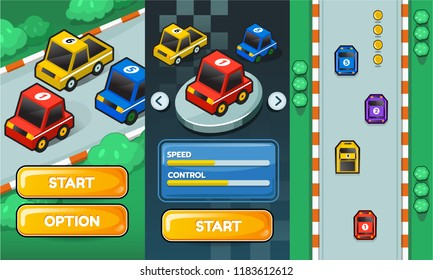2D Game asset pack race car, Interface with item for car racing or traffic game. Complete project for game design. Vector illustration