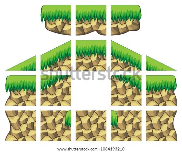 2d Game Tileset Platformer Tile Set Stock Vector (Royalty
