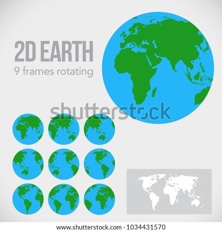 2 D Globe Icons Set World Map Stock Vector Royalty Free 1034431570