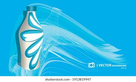 Illustration 2d, bouteille d'eau sur fond bleu