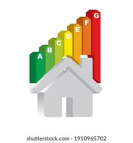 Illustration 2d, maison avec économie d'énergie, logo, efficacité énergétique