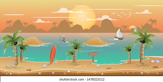 2D Parallax Beach Background. You can use this background for a game or application project. 100% vector.