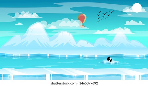 2D Parallax ice Background. You can use this background for a game or application project. 100% vector.