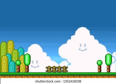 2D Pixel Art Retro Game Assets - Level Scene