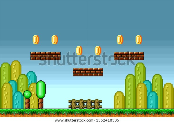 2d Pixel Art Retro Game Assets Stock Vector (Royalty Free) 1352418335