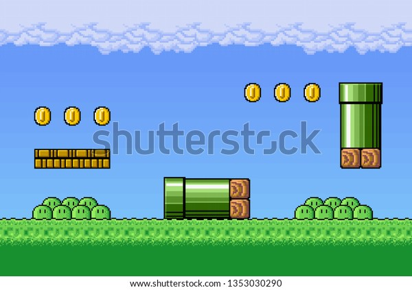 2d Pixel Art Retro Game Assets Stock Vector (Royalty Free
