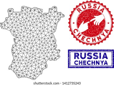 2D polygonal Chechnya map and grunge seal stamps. Abstract lines and spheric points form Chechnya map vector model. Round red stamp with connecting hands.