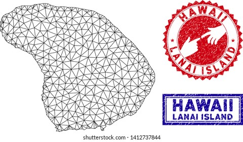 2D polygonal Lanai Island map and grunge seal stamps. Abstract lines and small circles form Lanai Island map vector model. Round red stamp with connecting hands.