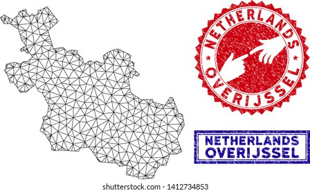 2D polygonal Overijssel Province map and grunge seal stamps. Abstract lines and circle dots form Overijssel Province map vector model. Round red stamp with connecting hands.