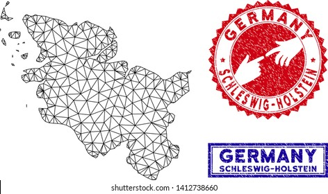 2D polygonal Schleswig-Holstein Land map and grunge seal stamps. Abstract lines and points form Schleswig-Holstein Land map vector model. Round red stamp with connecting hands.