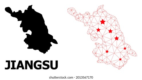 2D polygonal and solid Map of Jiangsu Province. Vector model is created from Map of Jiangsu Province with red stars. Abstract lines and stars form Map of Jiangsu Province.