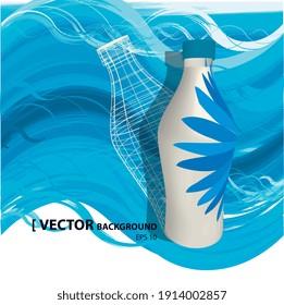 Illustration vectorielle 2d, bouteille d'eau sur fond bleu