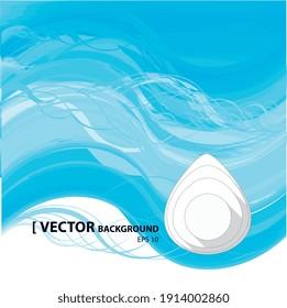 Illustration vectorielle 2d, goutte d'eau sur fond bleu