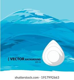 Illustration vectorielle 2d, goutte d'eau sur fond bleu océan
