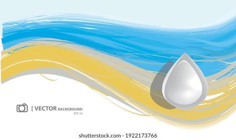 Illustration vectorielle 2d, goutte d'eau sur fond océanique