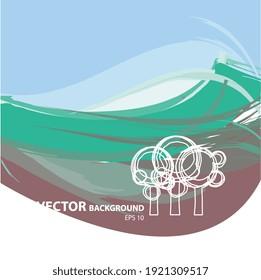 Illustration vectorielle 2d, paysage ou campagne avec symboles d'arbre