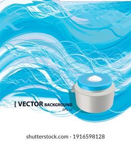 Illustration vectorielle 2d, marmite sur fond océan ou eau