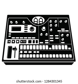 2d vector illustration of a virtual analog sampler for music production, black, isolated