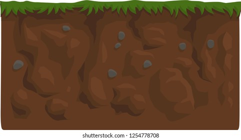 2d view of ground and garden, ground and dirt and rocks in layers of earth , grass , rocks , dirt , flat - 2d games like ground scene - texture - game ground texture