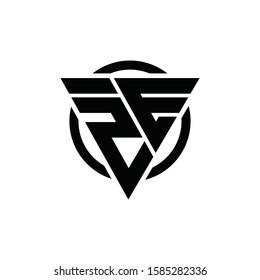 2E E2 Triangle Logo Circle Monogram Design Vector Super Hero Concept, ZE EZ Logo Design