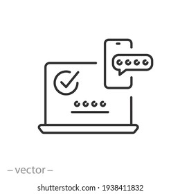 2fa multifactor verification icon, two factor authentication, online password verify, code login on laptop from mobile, secure message in  phone, thin line symbol on white background - editable stroke
