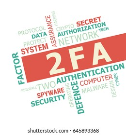 2FA word cloud, Two Factor Authentication. Cyber & Security concept.