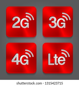 2G, 3G, 4G and LTE technology symbols. Red Metal button icon. Vector for web