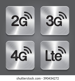 2G, 3G, 4G and LTE technology symbols. Metal button icon.