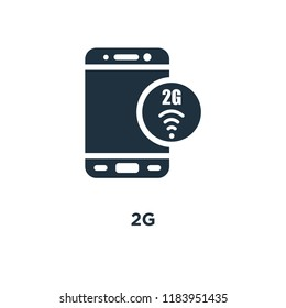 2g icon. Black filled vector illustration. 2g symbol on white background. Can be used in web and mobile.